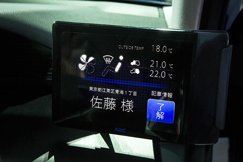 右側はエアコンと配車情報