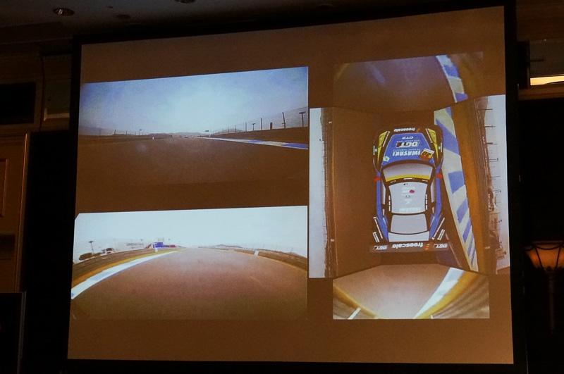 バードビューを作り出している様子。レーシングカーの四方にカメラが取り付けられており、撮影したデータは車両内のストレージに保存。レース後にデータを回収してこうした映像作成に利用する