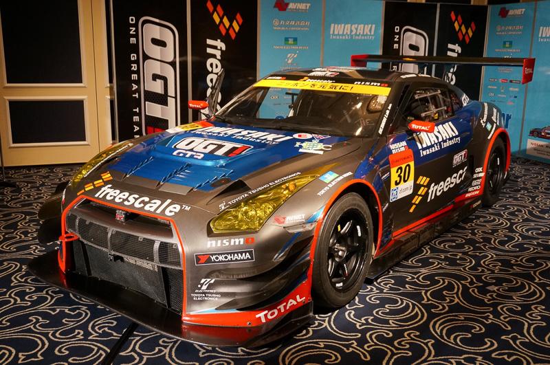 2013年のOGT!Racingに利用されたIWASAKI OGT Racing GT-R。SUPER GTのGT300クラスに参戦した
