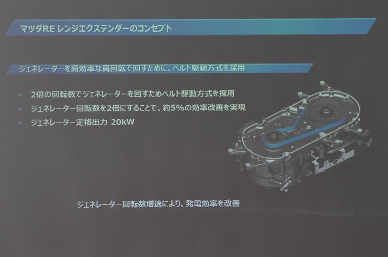 エンジンからは、ベルトでジェネレーターを駆動。定格出力は20kW