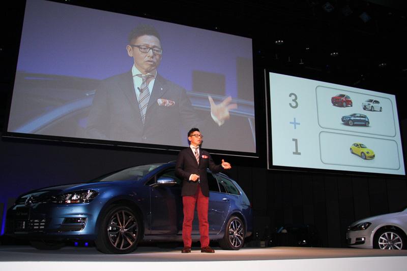現在のフォルクスワーゲンモデルの主力は「3+1」と呼ばれる「ゴルフ」「ポロ」「up!」という3車種のボリュームモデルと、ブランドにエモーショナルな印象を与える「ザ・ビートル」で構成されているが、庄司氏は2014年はこれに新たなボリュームモデルのゴルフ ヴァリアントを加えた「4+1」にしたいと語る