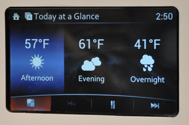 こちらは、現在の天気予報を表示させたところ。クルマによる通勤時の利用を念頭において開発されている