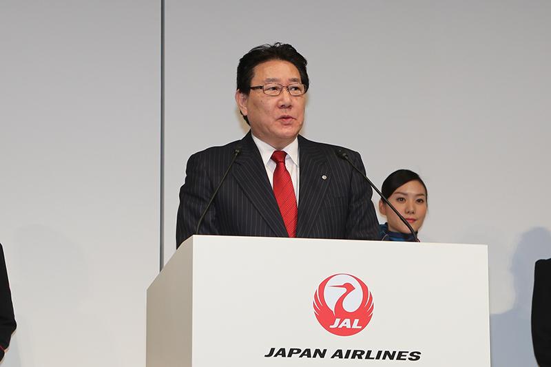 発表会冒頭で挨拶をした日本航空 代表取締役社長 植木義晴氏