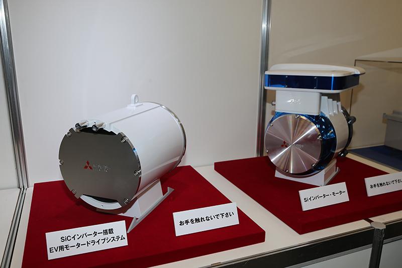 以前にモーターショーで展示されたSiインバーターモーター(右)とのサイズ比較