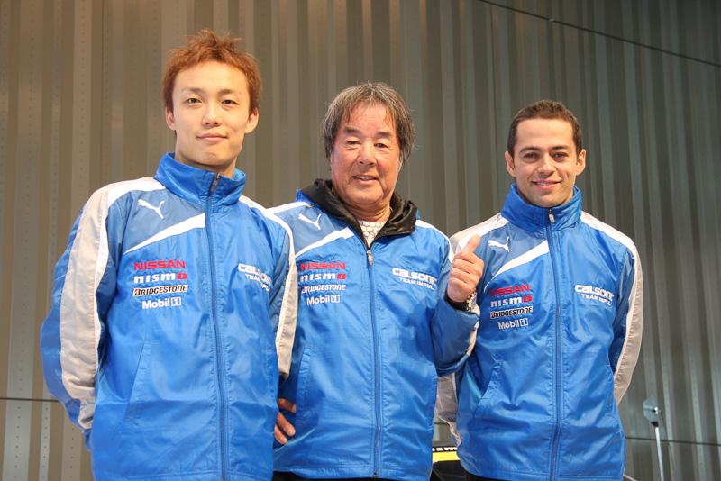 左から安田裕信選手、星野一義監督、ジョアオ・パオロ・デ・オリベイラ選手