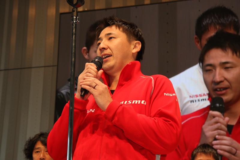 2014年シーズンからNISMOに移籍した松田次生選手。選手を代表した挨拶では、6年間在籍したTEAM IMPULに感謝の言葉を述べつつ「今日、この場に置かれているGT-Rで今シーズンのレースに臨みますが、この車両は開発したNISMOのスタッフが限られた時間のなかですばらしいマシンを提供してくれました。ここにいる全ドライバーで毎戦トップを取れるように頑張って結果で恩返ししたいと思っていますので、みなさんぜひサーキットに応援しに足を運んでください。よろしくお願いします」と語った