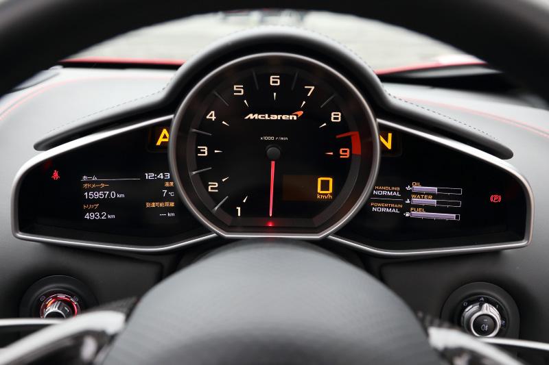 中央にタコメーターを配置し、その内部にデジタル数値で速度を示す。その他の情報はカラーディスプレイで表示する