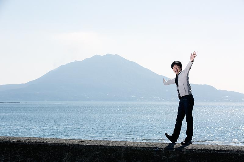 岡本幸一郎、桜島を見ることができてはしゃいでいます