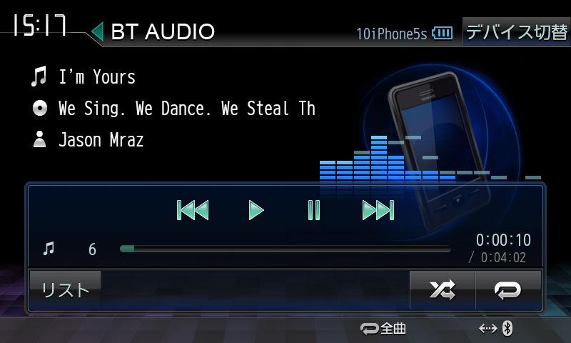 AVRCP1.4に対応したデバイスとBluetooth接続すると画面左下に昨年モデルまではなかった「リスト」のボタンが出る。リスト画面ではジャンル、アーティスト、アルバム名といったカテゴリーメニューよりカンタンに選曲ができるようになる