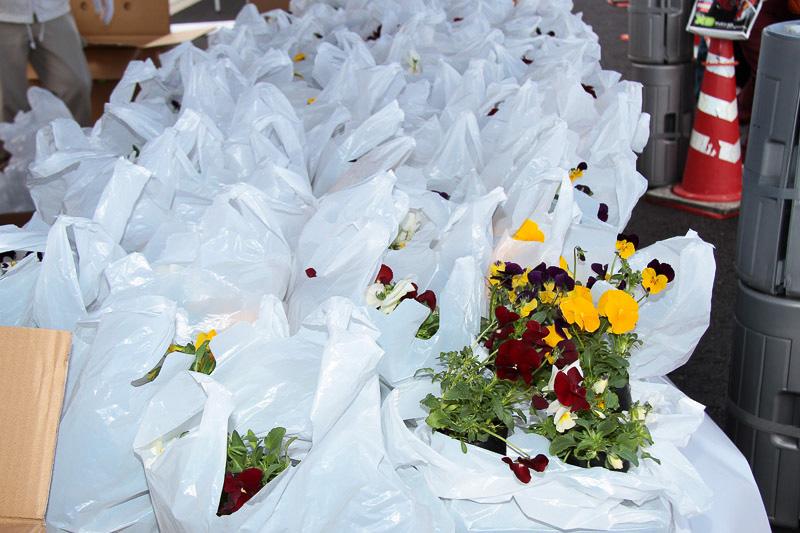 参加者には花などが配られた