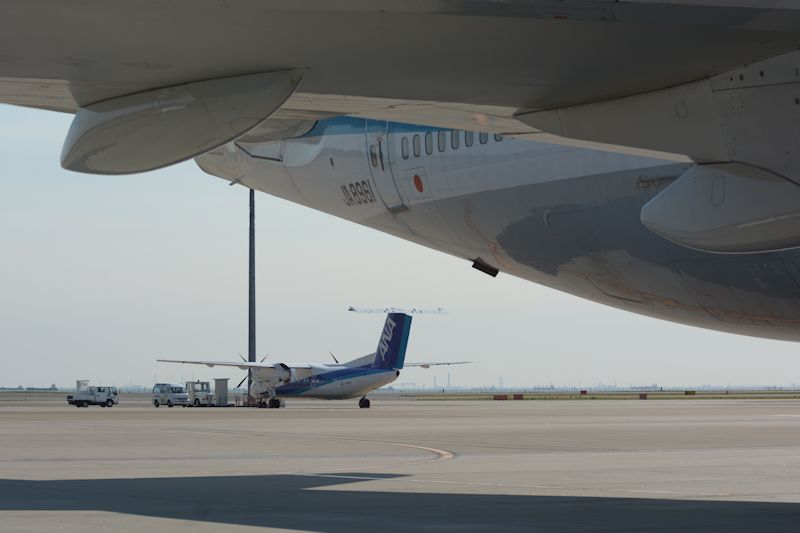 JA8961の奥には同日に退役を向かえるボンバルディアDHC-8-Q300も駐機