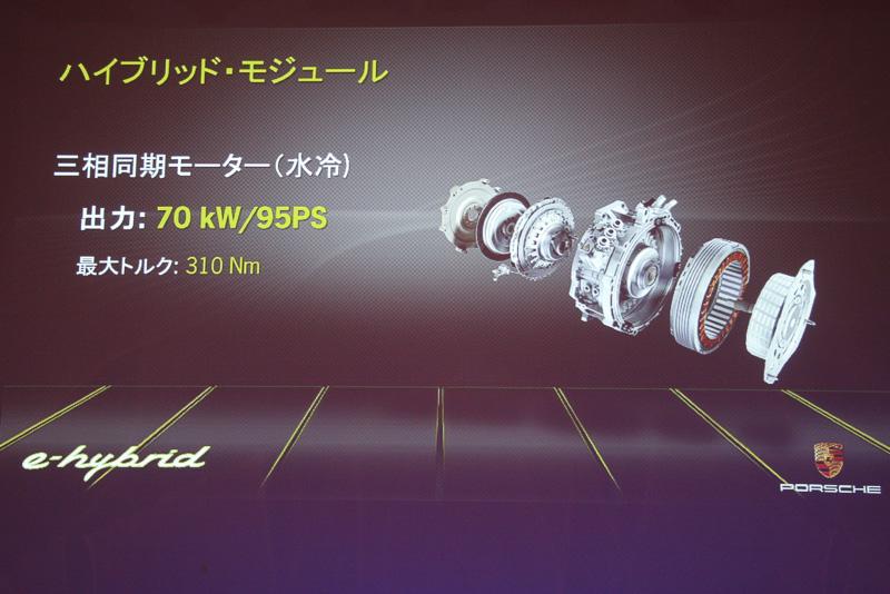 水冷の三相同期モーターを持つハイブリッド・モジュールは、エンジンとトランスミッションの間に配置。このモーターの力だけで135km/hの最高速を実現する