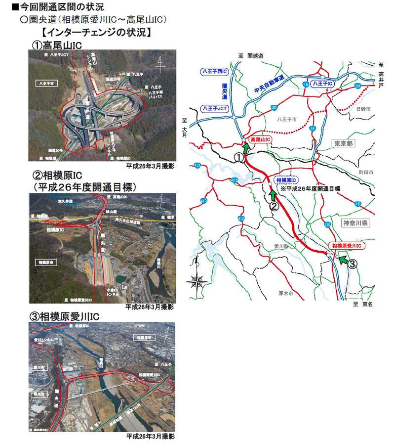高尾山ICや相模原愛川ICなどの整備状況
