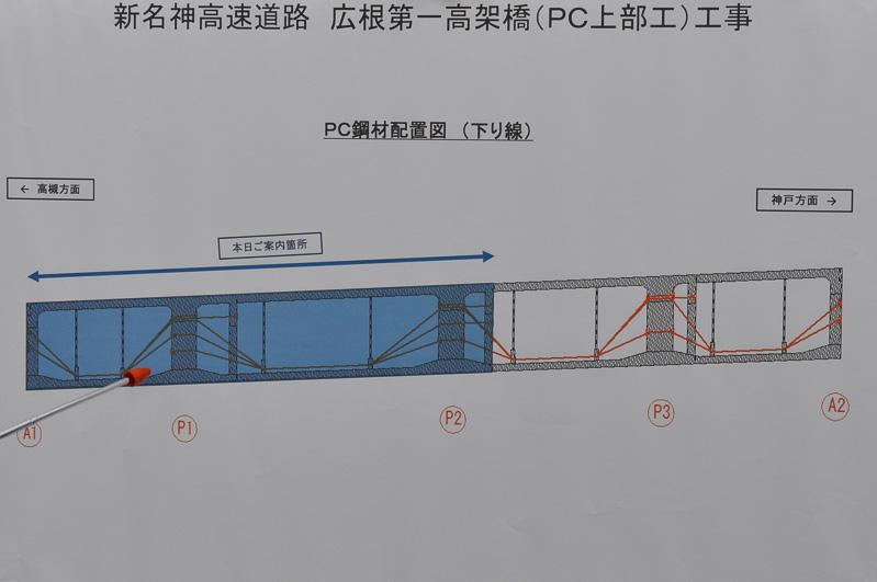 オレンジ色の線が広根第一高架橋内部を走るプレストレス用ケーブルの配置図