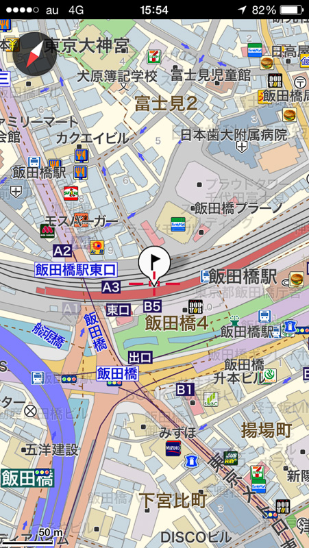 通常地図比較。左が旧バージョン、右が新バージョンのver.1.4。地図の文字表示関連などがすっきりしている。旧バージョンでの表示も可能