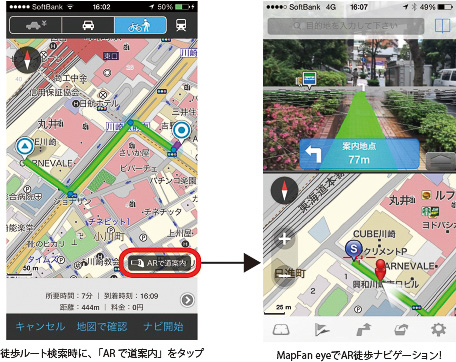 徒歩ナビアプリ「MapFan eye」連携機能