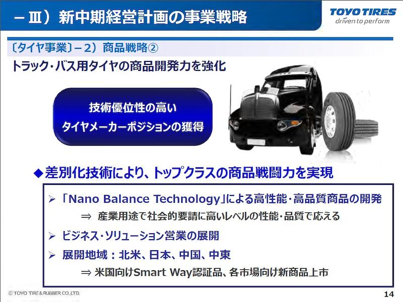 トラック・バス用タイヤの商品開発力も強化
