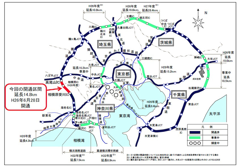 6月28日15時に圏央道 相模原愛川IC~高尾山IC間が開通。これにより東名高速、中央道、関越道が高速道路で接続される