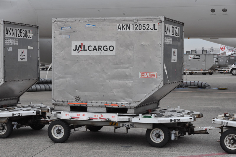 貨物を積み終わるとトーイングトラクターは去って行った。この貨物の中に手荷物などが搭載されており、手荷物受取所で乗客の手に渡されていく