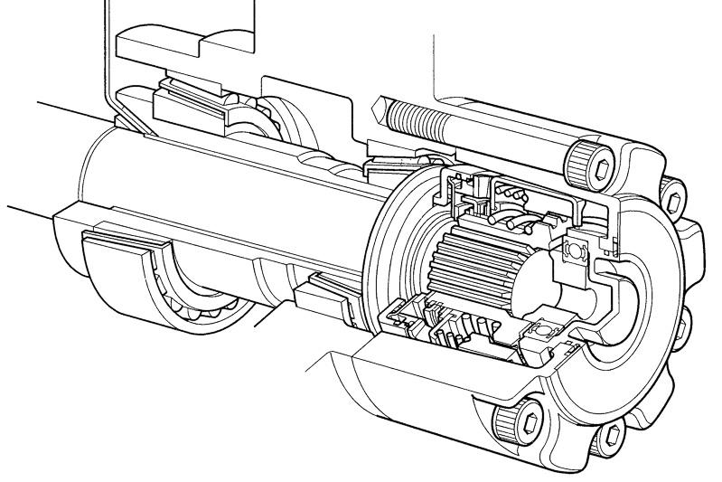「デュアルモードオートマチックロッキングハブ」の断面図