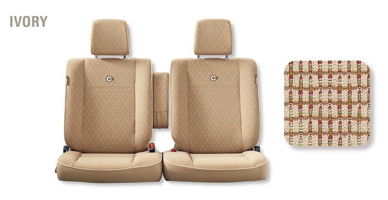 ココア プラスXのシート(写真左からアイボリー、ブラウン、ピンクベージュ)