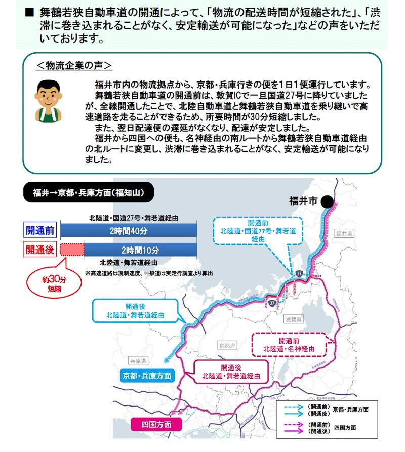 福井・四国間の配送では名神高速経由からルートを変更。渋滞を回避できるようになって安定輸送が可能になった