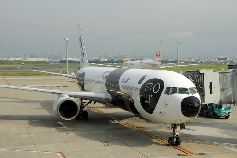 日本選手団が搭乗した「FLY!パンダ」(JA606A)