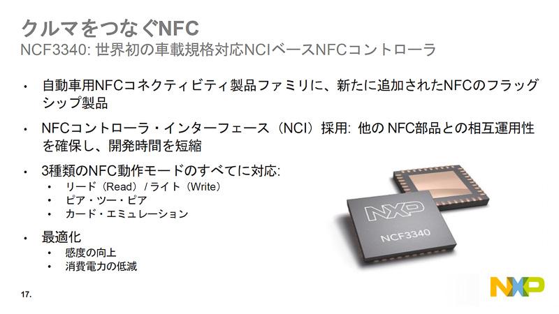 NCF3340のアウトラインを説明するスライド。初めてのNCI対応の車載グレードNFCコントローラだ