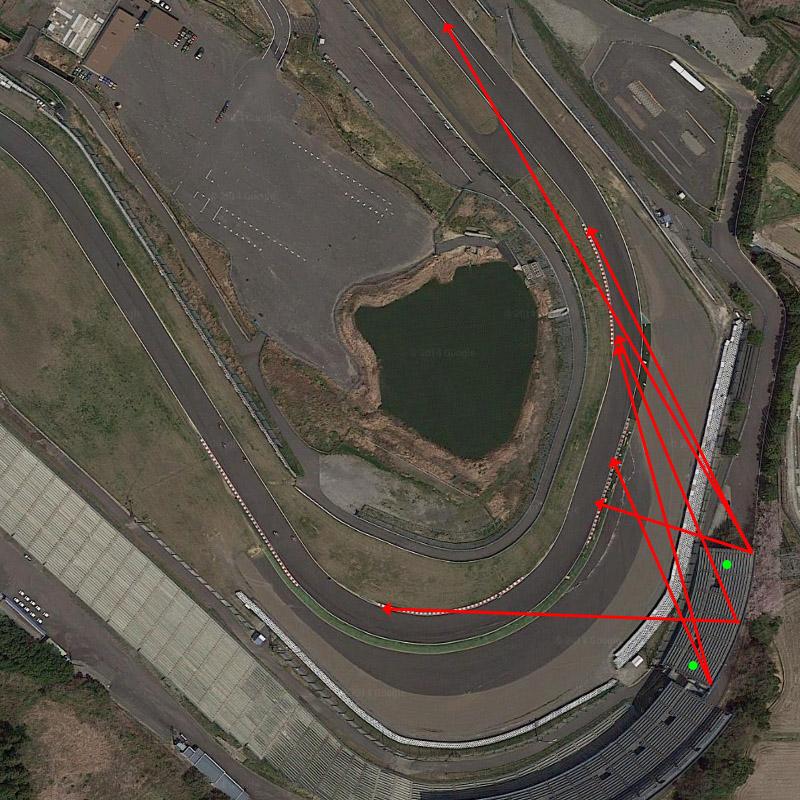緑の点はパノラマ写真の撮影位置。矢印はマシンを撮影した位置関係 ※Google Maps
