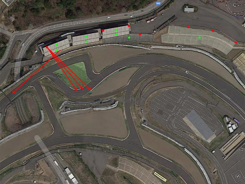 赤丸が景色を撮影したポイント ※Google Maps