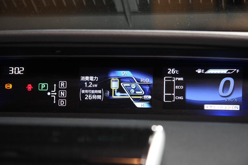 外部給電中は車内のメーターパネル内に利用状況を分かりやすく表示。外部給電のON/OFFスイッチはステアリングの右下に用意する