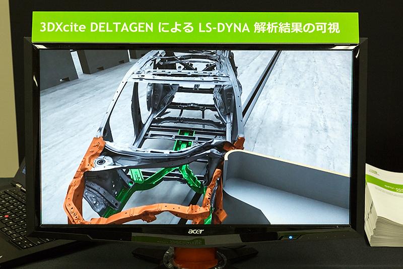 3DXcite Deltagenを利用しての衝突実験のシミュレーションモデル。追加コストなく何度でもテストすることができるし、車両の内部がどうなっているのかを自由な角度から見たりなどさまざまな使い方が考えられる