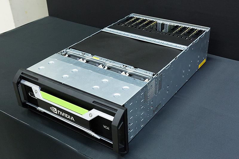 VCAのラックマウントサーバー。8枚のGPU搭載拡張カードが内蔵されている