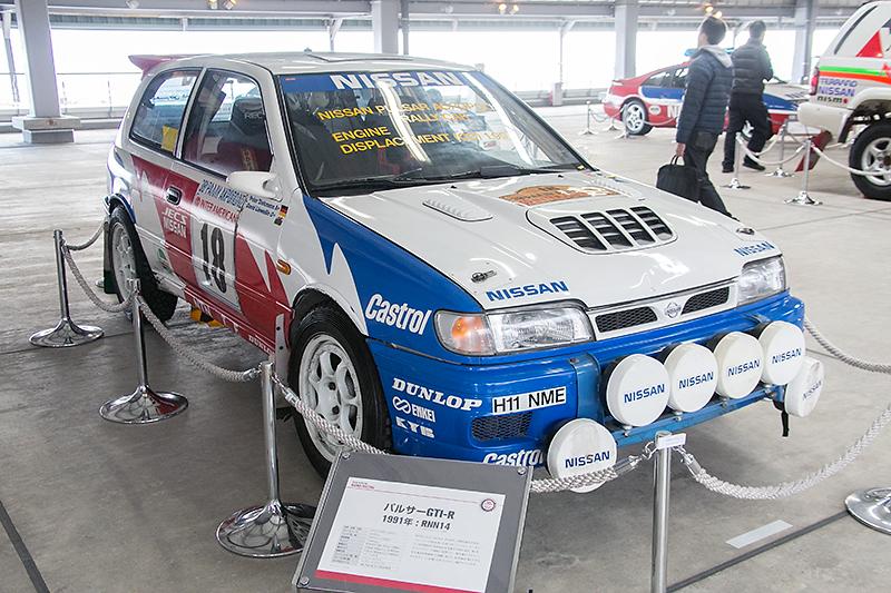 ピットビル3階ではレース車両の展示も。これは1991年のアクロポリスラリーに出場したWRカー仕様のパルサーGTI-R