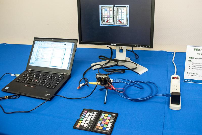 USB3.0インターフェイスから電源を供給し、コンポジット映像を出力するデモ。接続されたPCはモード変更のコマンドを出すために使われている