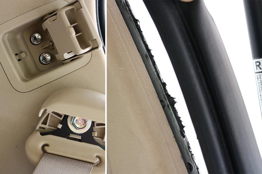 ルーフ内装後端内部に配線を通すため、バックドア防水モールとシートベルト金具を取り外す。グリスが詰まっているので汚れに注意