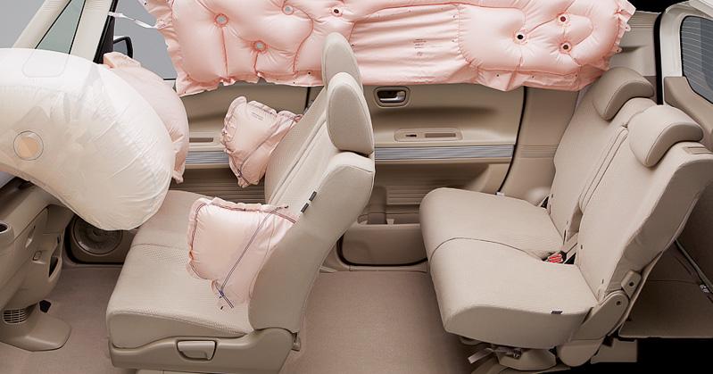 「前席用i-SRSエアバッグ+サイドカーテンエアバッグ」の作動イメージ