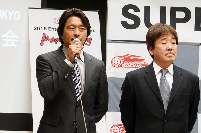 2014年のゼネラルマネージャから、コミュニケーションディレクターに職責の変わる大橋逸夫氏(左)。これまで以上にSUPER GT自体の情報を発信するという。メンテナンスガレージは継続してRSファインで、チーフエンジニアは河野高男代表(右)