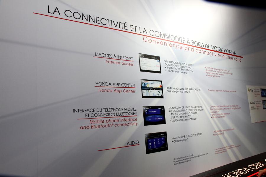 ホンダ・コネクトを採用したインフォテイメントシステム。オーディオやナビゲーションのほか、ソーシャルメディアへの接続、ホンダAPPを通してアプリをダウンロード可能などの機能性を持つ