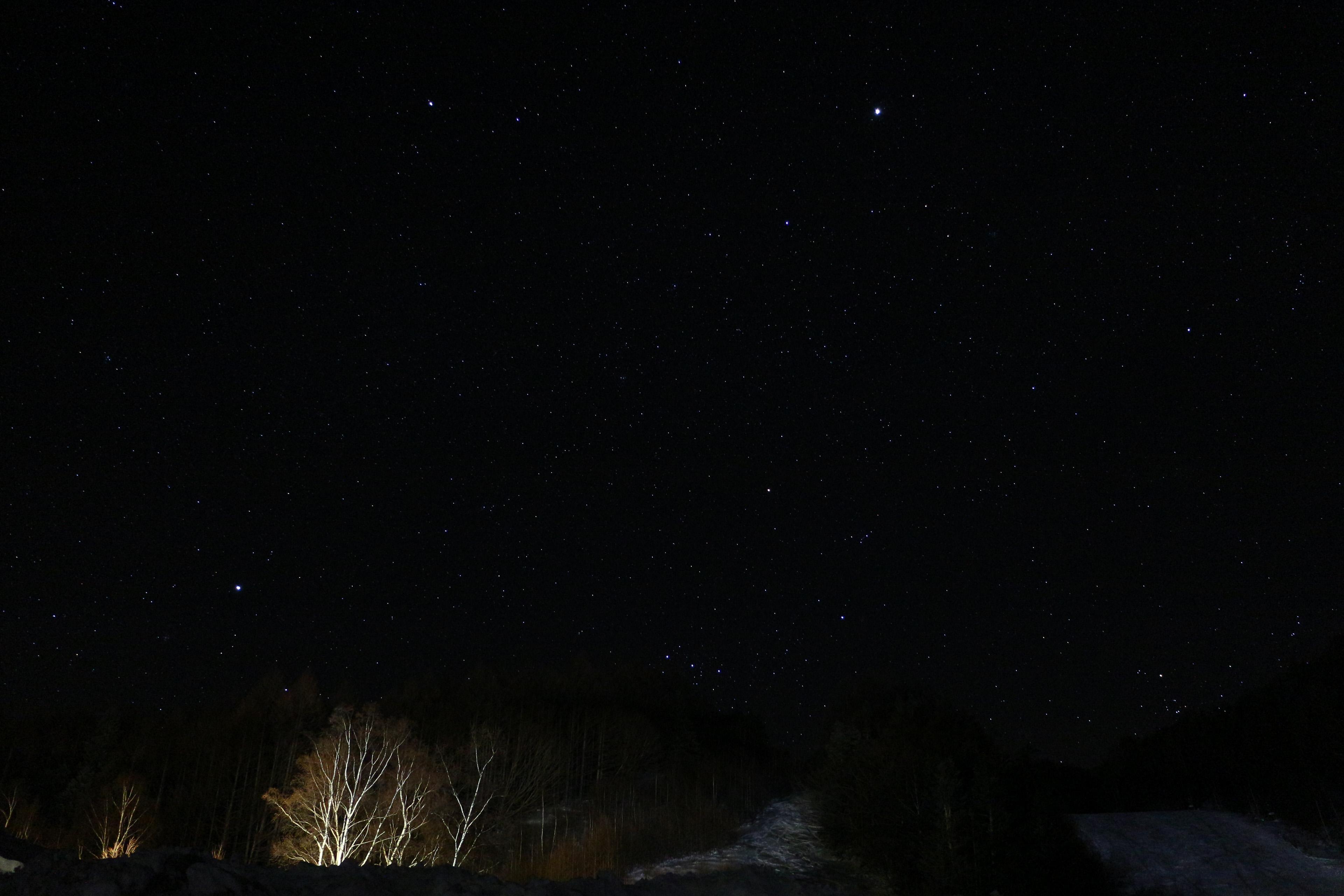 なんという美しい星空だろう。極寒かつ無風の長野の夜を堪能。……が、雪は降らない(涙