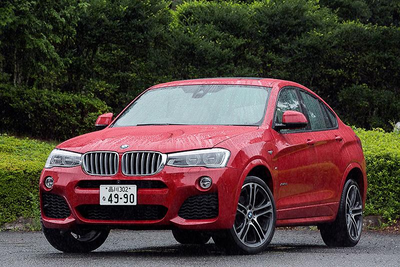 ミドルレンジのスポーツ・アクティビティ・クーペ「X4」。撮影車はX4 xDrive35i M Sport(790万円)で、直列6気筒DOHC 3.0リッターターボエンジンに8速ATを組み合わせる。ボディーサイズは4680×1900×1625mm(全長×全幅×全高)、ホイールベース2810mm。車両重量は1900kg
