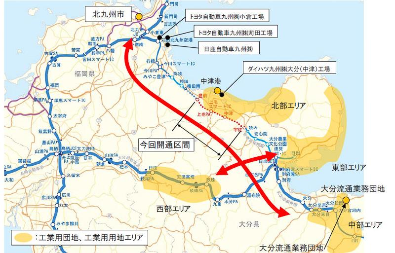 自動車組立工場が多くある東九州道沿線。豊前IC~宇佐IC間の開通により、さらなる企業誘致を期待する