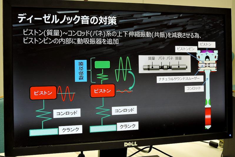ナチュラルサウンドスムーザーの両サイドが振動と逆位相に動いて共振を減衰