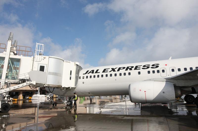 乗客が降り、しばらくしたら機長が各部の点検に。この航空機は、羽田へ向けて折り返すのだが、そのための目視点検を行っている