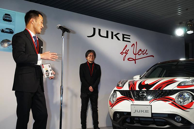 杉本さんは実車を前に受賞のコメント。保存ができないシステムだったので徹夜でイッキに仕上げたという