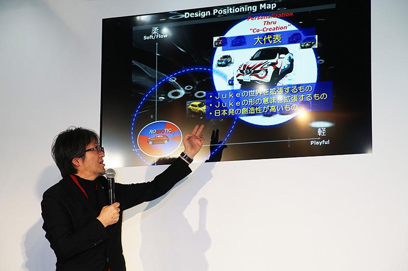 秋山デザイン・ダイレクターは、ジュークのデザインの成り立ちや今回の選考基準などを詳しく解説してくれた