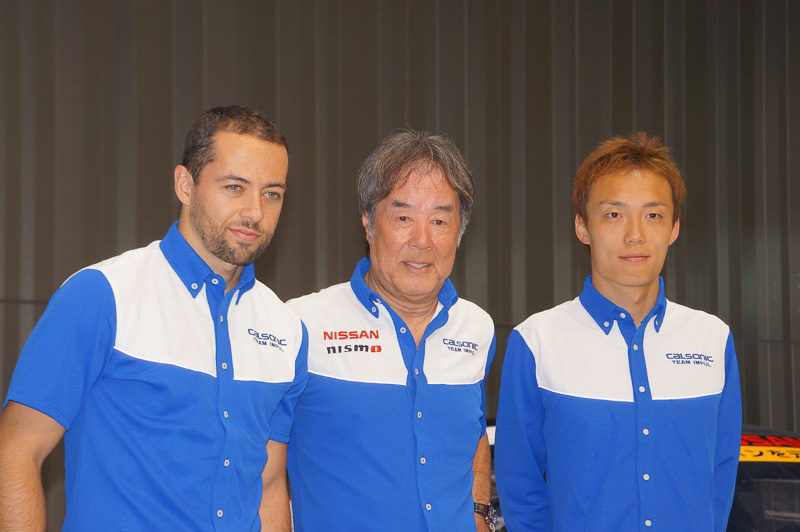 TEAM IMPUL、左からジョアオ・パオロ・デ・オリベイラ選手、星野一義監督、安田裕信選手