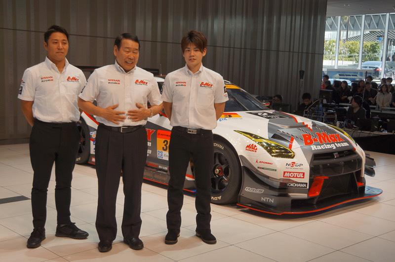 NDDP RACING with B-MAX 左から星野一樹選手、長谷見昌弘監督、高星明誠選手