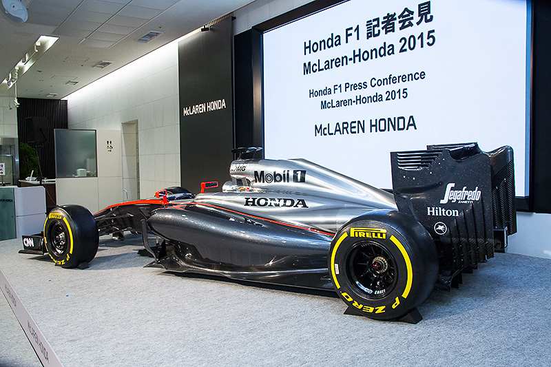 2月10日にホンダ本社で行われた記者会見の会場に展示されたマシン