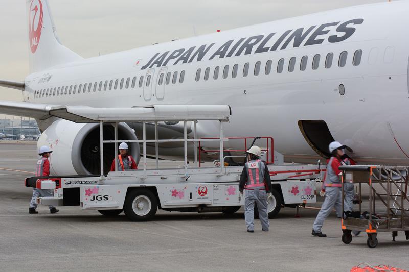 荷物、機内食の積み込みや機外での出発準備など、全て女性スタッフが行なっている